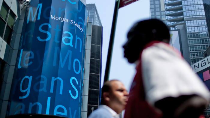 Pedestrians walk past Morgan Stanley headquarters in New York, U.S