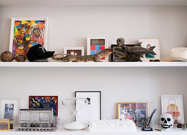 Shelf in Damien Hirst's London office