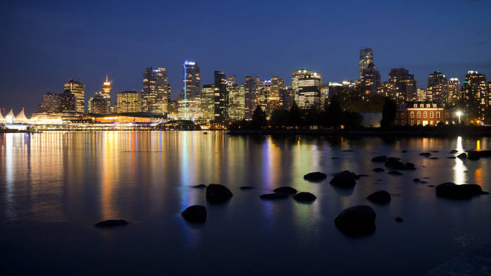 The North end of Vancouver's skyline is pictured from Stanley Park, British Columbia, Canada, on Thursday October 3, 2013. Photographer: Ben Nelms/Bloomberg