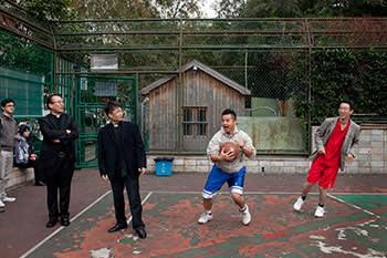 BasKetball match. Catholic trainee priests play against the Yangshupu church team, Shanghai