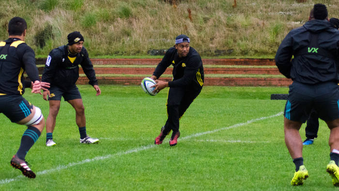 Julian Savea during a warm up game at a Hurricanes rugby training. Taken at the Wellington Hurricanes training base