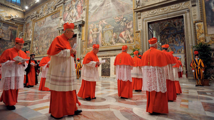 Cardinals at the Vatican conclave to elect the new pope in March