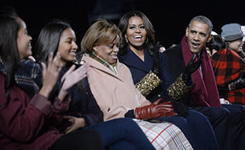 From left: Malia, Sasha, Michelle and Barack Obama with (centre) Michelle's mother Marian Robinson, at the White House Christmas tree lighting