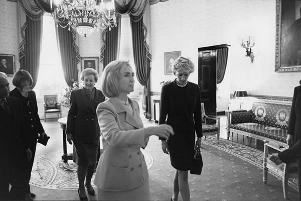Hillary Clinton with (from left) Ralph Lauren, Anna Wintour, Katharine Graham and Diana, Princess of Wales, September 1996