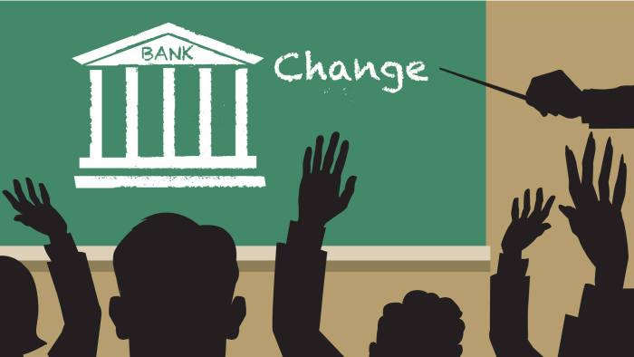 Business Life: Bank school illustration