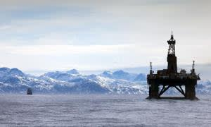 The Leiv Eiriksson off the coast of Greenland. Operated by Cairn Energy it is the only rig in the world currently set to begin new deep sea drilling in the Arctic making it a clear and present danger to the pristine arctic environment.