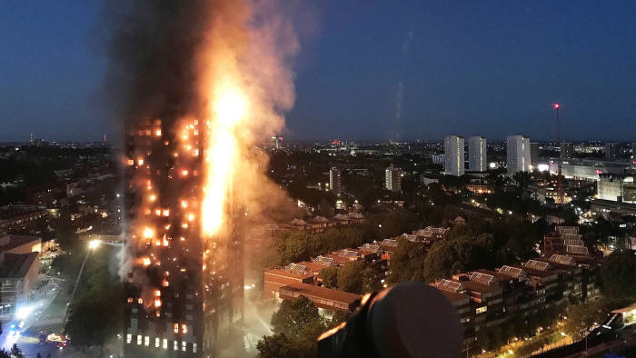 LONDON, ENGLAND - JUNE 14: In this image taken by eyewitness Gurbuz Binici, a huge fire engulfs the 24 story Grenfell Tower in Latimer Road, West London in the early hours of this morning on June 14, 2017 in London, England. The Mayor of London, Sadiq Khan, has declared the fire a major incident. Fatalities have been confirmed and at least 50 people are receiving hospital treatment. (Photo by Gurbuz Binici /Getty Images)