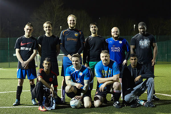 Five-a-side players at St Margaret's Pastures Sports Centre