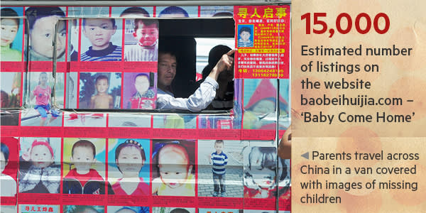 A van covered with the images of missing children being driven around China