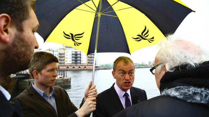 Britain's Liberal Democrats leader Tim Farron addresses the media during the launch of the Welsh Liberal Democrats General Election campaign in Cardiff, south Wales on May 11, 2017. Britain will vote in a general election on June 8. / AFP PHOTO / Geoff CADDICKGEOFF CADDICK/AFP/Getty Images