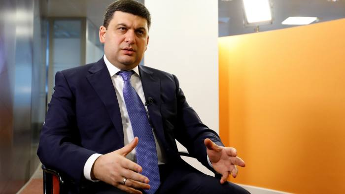 Ukrainian Prime Minister Volodymyr Groysman speaks during an interview with Reuters in Brussels, Belgium February 10, 2017. REUTERS/Yves Herman - RTX30F67