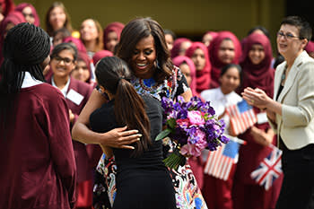 Students of Mulberry School in Tower Hamlets, London, welcome Michelle Obama this June