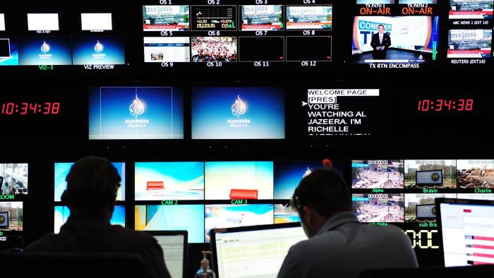 The main control room in the new Al Jazeera America television broadcast studio on West 34th Street August 16, 2013 in New York. Al Jazeera America, which will launch on August 20, will have its headquarters in New York. AFP PHOTO/Stan HONDA (Photo credit should read STAN HONDA/AFP/Getty Images)
