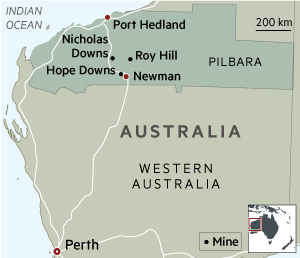 Map Pilbara mines western Australia