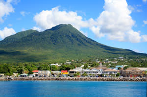 Charlestown, capital of Nevis, with Nevis Peak behind