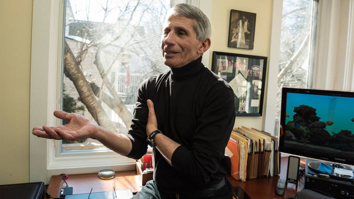 Dr Anthony S Fauci in his home office in Washington DC