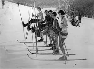Women try out their skis in 1935