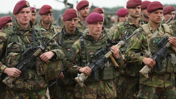ZAGAN, POLAND - JUNE 18: Lithuanian soldiers participate in the NATO Noble Jump military exercises of the VJTF forces on June 18, 2015 in Zagan, Poland. The VJTF, the Very High Readiness Joint Task Force, is NATO's response to Russia's annexation of Crimea and the conflict in eastern Ukraine. Troops from Germany, Norway, Belgium, Poland, Czech Republic, Lithuania and Holland were among those taking part today. (Photo by Sean Gallup/Getty Images)