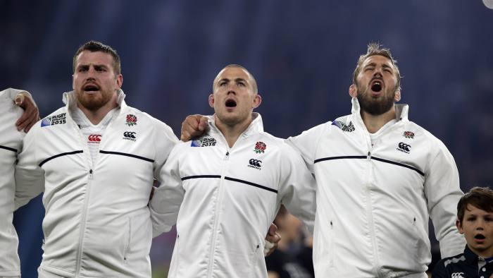(From L) England's number 8 Ben Morgan, England's full-back Mike Brown and England's flanker and captain Chris Robshaw sing the national anthem prior to a Pool A match of the 2015 Rugby World Cup between England and Australia at Twickenham stadium, south west London, on October 3, 2015. AFP PHOTO / ADRIAN DENNIS RESTRICTED TO EDITORIAL USE, NO USE IN LIVE MATCH TRACKING SERVICES, TO BE USED AS NON-SEQUENTIAL STILLS (Photo credit should read ADRIAN DENNIS/AFP/Getty Images)