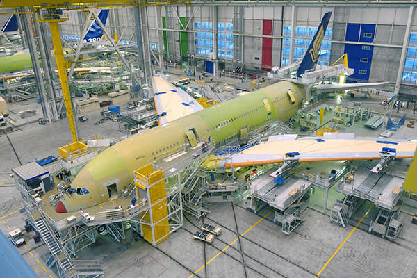 An A380 aircraft being assembled at Airbus's campus in Toulouse, France