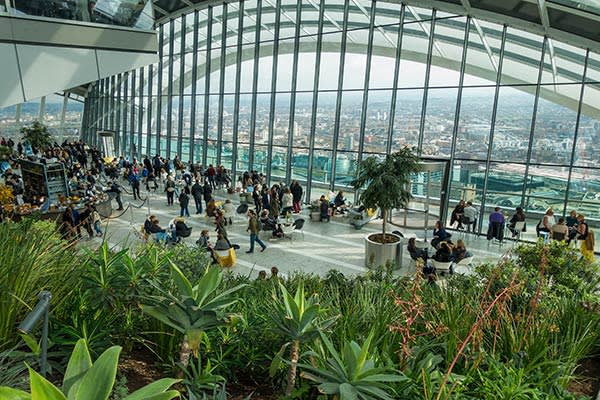 Rafael Viñoly's 'Sky Garden' at the top of the Walkie-Talkie building in London