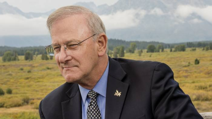 Federal Reserve Jackson Hole Economic Symposium...Thomas Hoenig, vice chairman of the Federal Deposit Insurance Corp. (FDIC), listens during a Bloomberg television interview during the Jackson Hole economic symposium, sponsored by the Federal Reserve Bank of Kansas City, at the Jackson Lake Lodge in Moran, Wyoming, U.S., on Thursday, Aug. 27, 2015. Hoenig discussed the implementation of the Dodd-Frank banking regulation and industry outlook. Photographer: David Paul Morris/Bloomberg