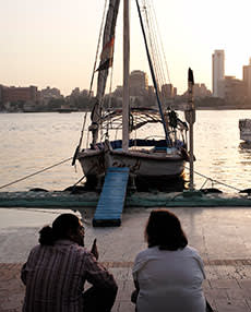 Waiting to board a traditional felucca