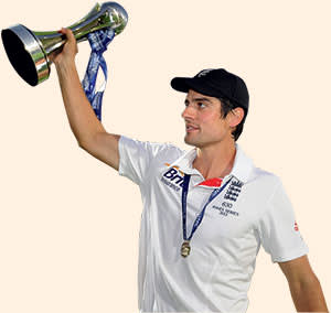 Cook holds the Ashes trophy at the end of the final day of the fifth Ashes test at The Oval, August 25 2013.