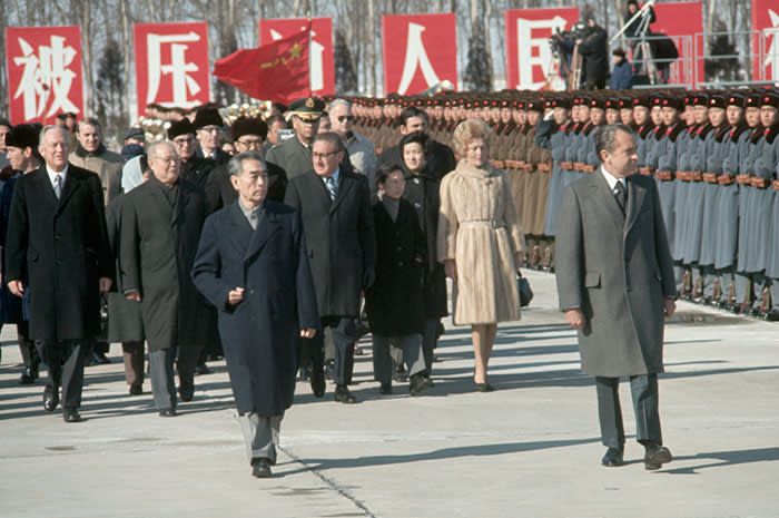 Former US president Richard Nixon with premier Zhou Enlai, during Nixon's visit to China in 1972