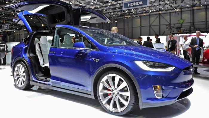 A Tesla Model X at the Geneva motor show this year