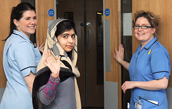 Malala Yousafzai leaving the Queen Elizabeth Hospital, Birmingham, after undergoing surgery to repair her skull, January 4 2013