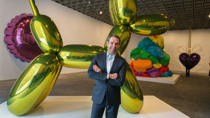Jeff Koons, pictured at his New York retrospective last month