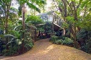 Lush greenery surrounds Bo Bardi's house