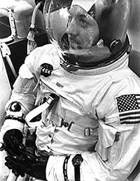 Jack Swigert being prepared for Apollo 13's launch sequence