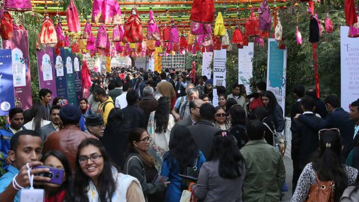 Crowds at the Jaipur literature festival this month