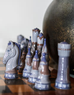 A carved chessboard