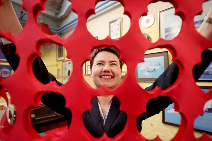 PABEST Scottish Conservative leader Ruth Davidson visits the PoppyScotland factory in Edinburgh. PRESS ASSOCIATION Photo. Issue date: Monday November 20, 2017. Photo credit should read: Jane Barlow/PA Wire