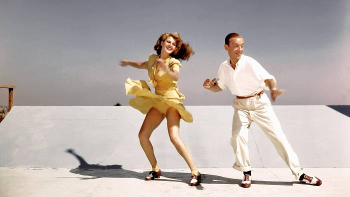 LOS ANGELES - 1942:  Acors and dancers Rita Hayworth and Fred Astaire rehearse on a roof top at Columbia Pictures for a scene from their film 'You Were Never Lovelier' in 1942 in Los Angeles, California.  (Photo by Earl Theisen/Getty Images)