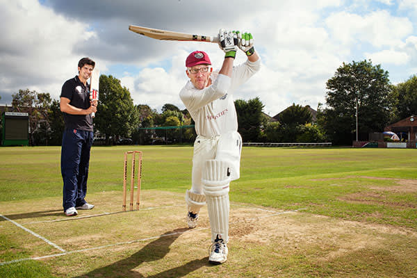Alistair Cook, captain of the England Cricket Team, gives writer, Tom Holland a masterclass in cricket batting at the Finchley Cricket Club in north London. Here Alistair teaches Tom to swing the batting drive