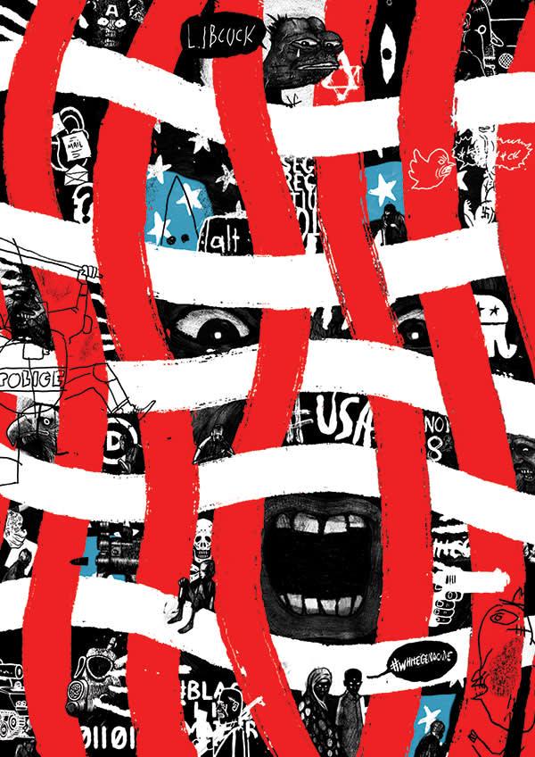 Illustration by David Foldvari of angry America