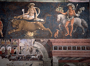 A fresco, which depicts the Palio, in the Salone dei Mesi at the Schifanoia Palace