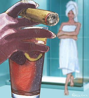 Foreground: man's hand holding a cigar and a drink. background: woman coming out of a shower