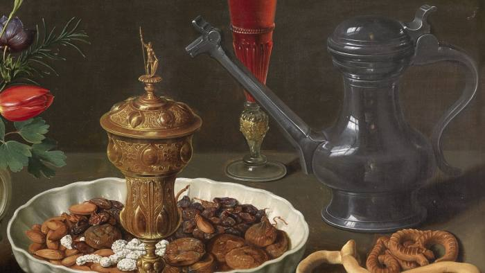 Still life by Clara Peeters: her reflection can be seen in the pewter jug