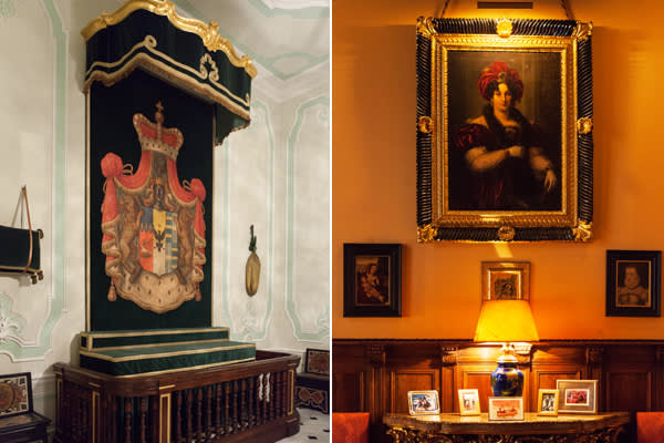 From left: Stand for the tasselled hats of visiting cardinals and bishops; portrait of Princess Teresa Doria Pamphilj Orsini
