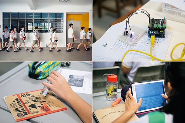 From top left, clockwise: Orderly behaviour is the norm at Admiralty; LED circuit; children take tests on tablets; there's always time for doodling