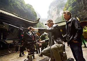 Director Michael Bay on location at Wulong Karst National Park