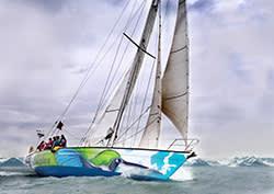 A yacth sailing in the Arctic Circle