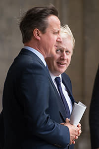 The current mayor Boris Johnson with David cameron, the prime minister