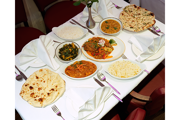 Sag aloo, tadka dal, chicken nazakat, bread and rice at Spice Rouge, Stevenage