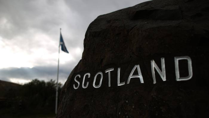 CARTER BAR, SCOTLAND - SEPTEMBER 14:  A cairn with 'Scotland' painted on it greets visitors at the border with England on September 14, 2014 in Carter Bar, Scotland. The latest polls in Scotland's independence referendum put the No campaign back in the lead, the first time they have gained ground on the Yes campaign since the start of August.  (Photo by Peter Macdiarmid/Getty Images)